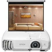 Epson EH-TW5100 3LCD Beamer, FullHD 3D MW Rollo Leinwand 16:9, 192x108cm