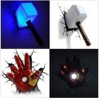3d lampen dekolicht avengers thor hamer ironman