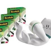 Scotch CATSM4 Handabroller Promotion in Katzenform, inklusiv 4 Rollen Magic Klebeband
