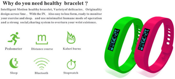 SH01 Bluetooth 2.1 Sync OLED Healthy Smart Bracelet Sport Fitness Tracker with Pedometer / Sleep Monitoring / Calorie Counter for Android Smart Phones