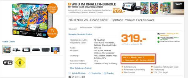 NINTENDO Wii U Mario Kart 8 + Splatoon Premium Pack Schwarz günstig bei SATURN b