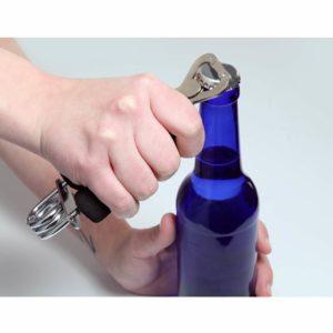 Flaschenöffner HANDSHAKE für Fitnessfanatiker mit Handmuskeltrainer