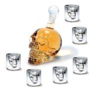 Kristall Schädel Flasche  Set + 6 totenkopf gläser