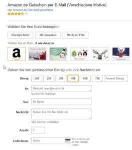 Amazon.de Gutschein per E-Mail Geschenkgutscheine 40€ 10€ gratis