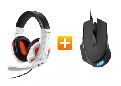 Sharkoon Rush ER1 - Gaming Stereo Headset + Sharkoon SHARK Force Gaming Maus