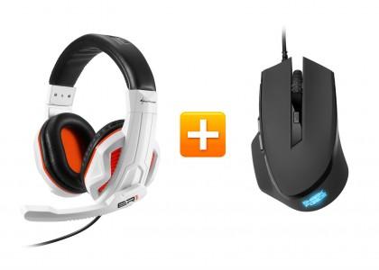 Sharkoon Rush ER1 - Gaming Stereo Headset + Sharkoon SHARK Force Gaming Maus