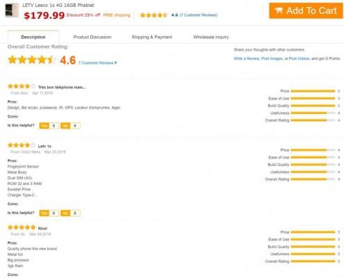 beispielhafte GearBest-Produktbewertungen