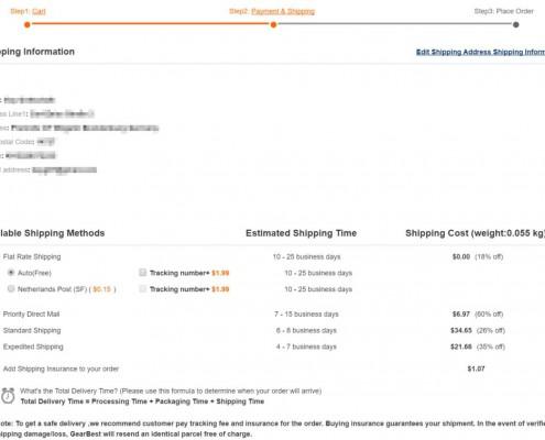 Gearbest.com Versandoptionen