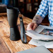 Goat Story Kaffeebecher, 350 ml, schwarz, Echtleder Horn kaffeebecher