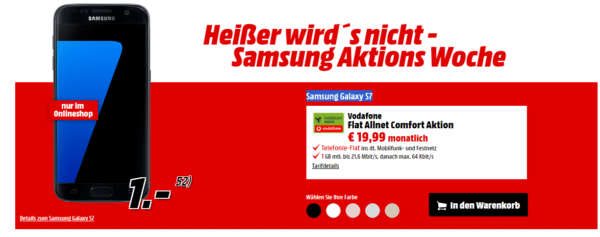 Media Markt samsung galaxy s7 für 1 € vodafone