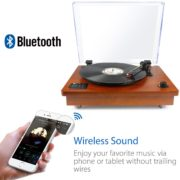 1byone riemengetriebener Bluetooth Plattenspieler mit Vinyl-To-MP3 Funktion, Naturholz