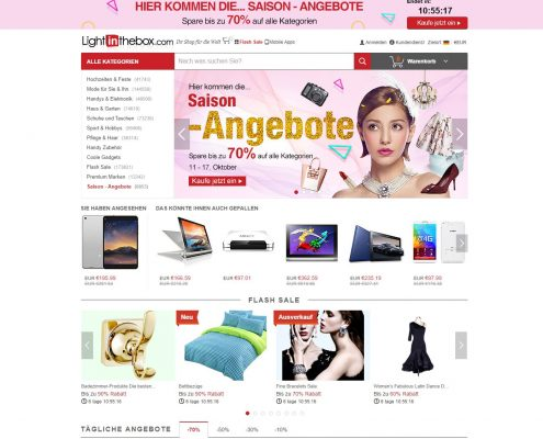 LightInTheBox.com - Startseite (Stand 17.10.2016)
