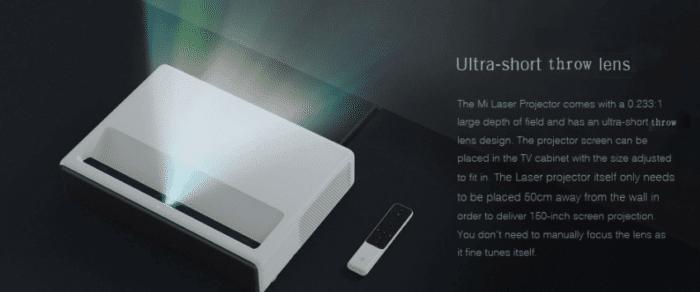 Xiaomi Mijia Ultrakurzdistanz Beamer geringer wandabstand nötig