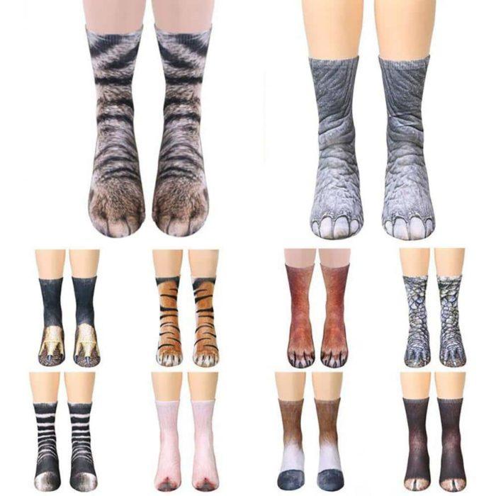 geekbuying 3D Printed Dog Feet Animal Pattern Unisex Adult Socks Multicolor 726806