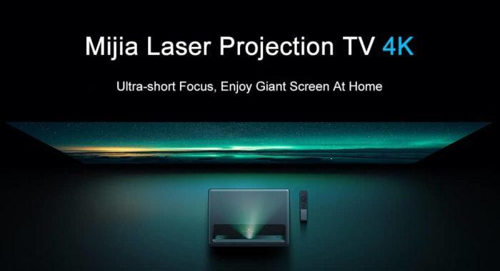 Xiaomi Mijia 4k Laser Ultrakurzdistanz Projektor Promotion Bild Projektor Draufsicht+ Leinwand