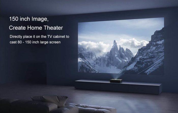 Xiaomi Mijia 4k Laser Ultrakurzdistanz Projektor Promotion Bild Beamer + Leinwand