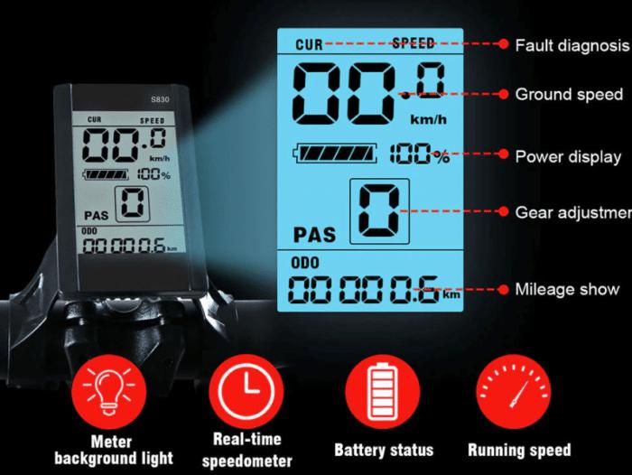 Samebike LO26 Display mit allen wichtigen Informationen auf einen Blick