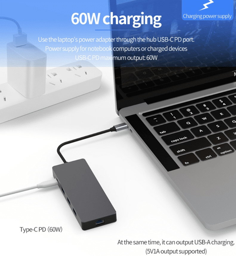 Multifunktions USB Hub 60W output