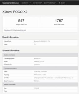 2020 01 29 13 36 34 Xiaomi POCO X2 Hands On Geekbench Leak Techreviewer