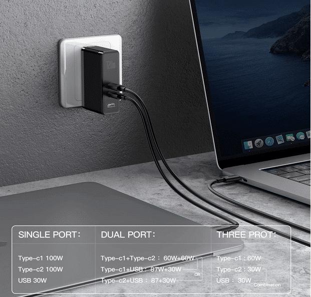 2021 01 14 11 55 11 Baseus USB C Ladegeraet 120W Power Delivery mit GaN Tech 2CA Ports Wandladeger