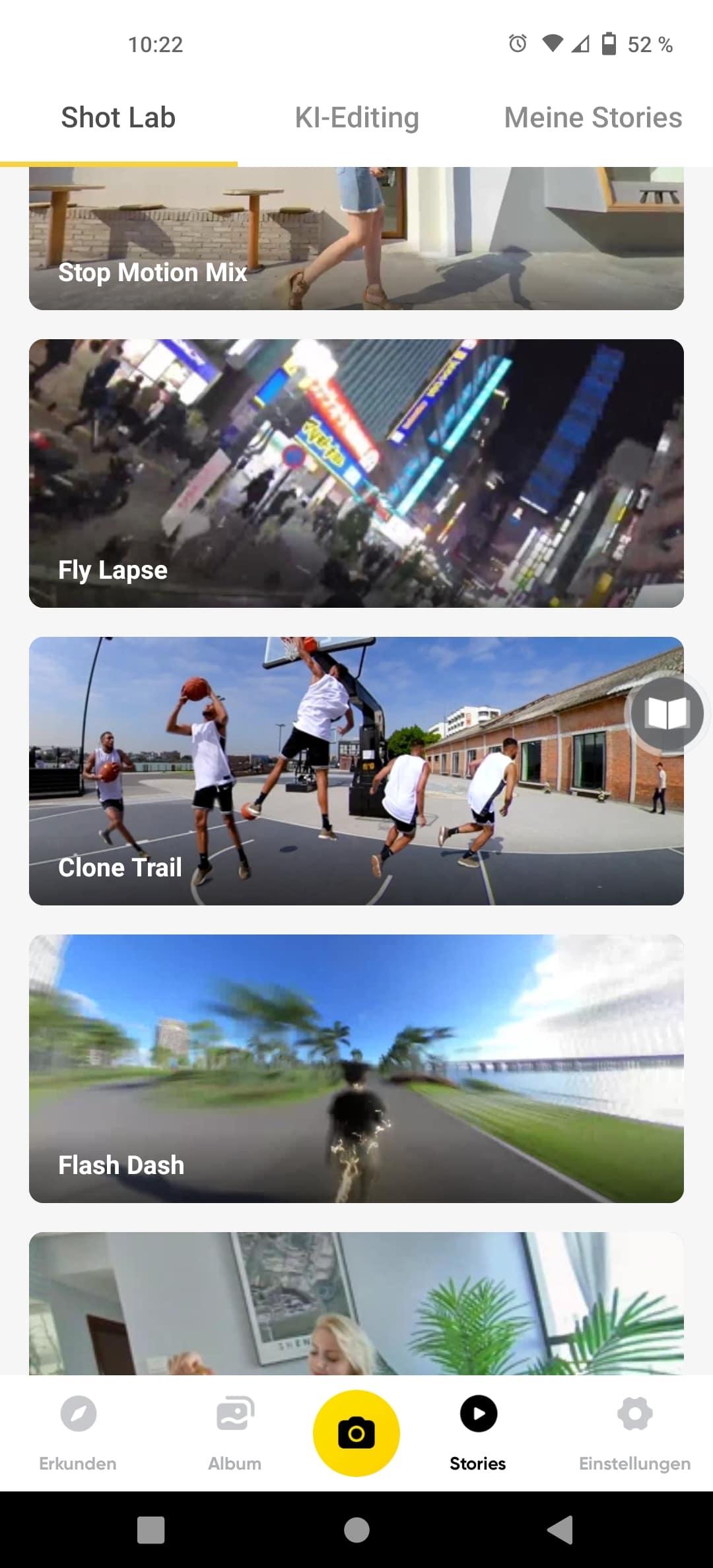 Insta360 One X2 Umfangreiche App
