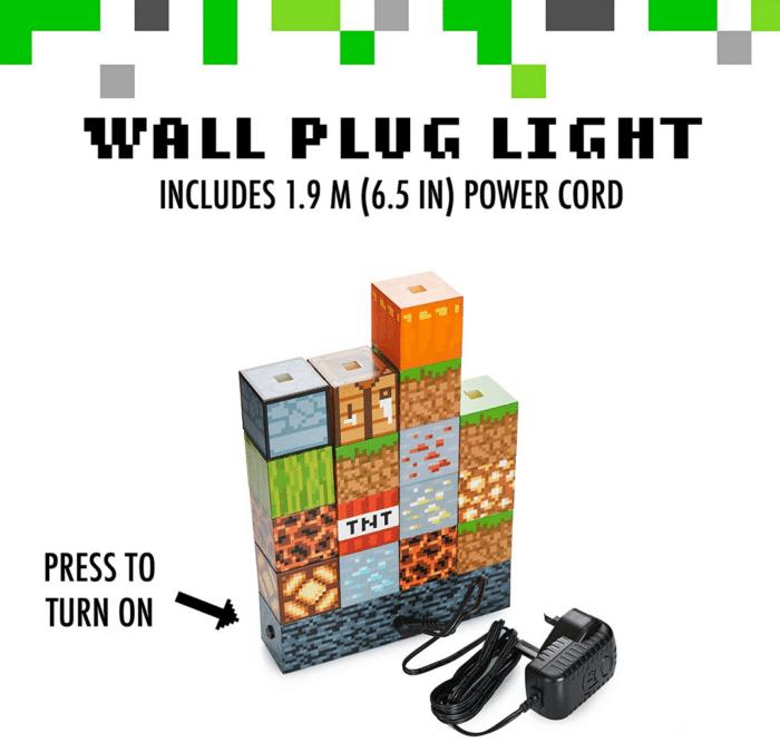 2021 02 17 10 09 23 Minecraft Blockbaulampe 16 verschiebbare Lichtbloecke und Bettfels Basis.  Amazo