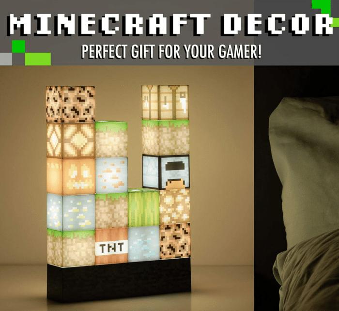 2021 02 17 10 10 51 Minecraft Blockbaulampe 16 verschiebbare Lichtbloecke und Bettfels Basis.  Amazo
