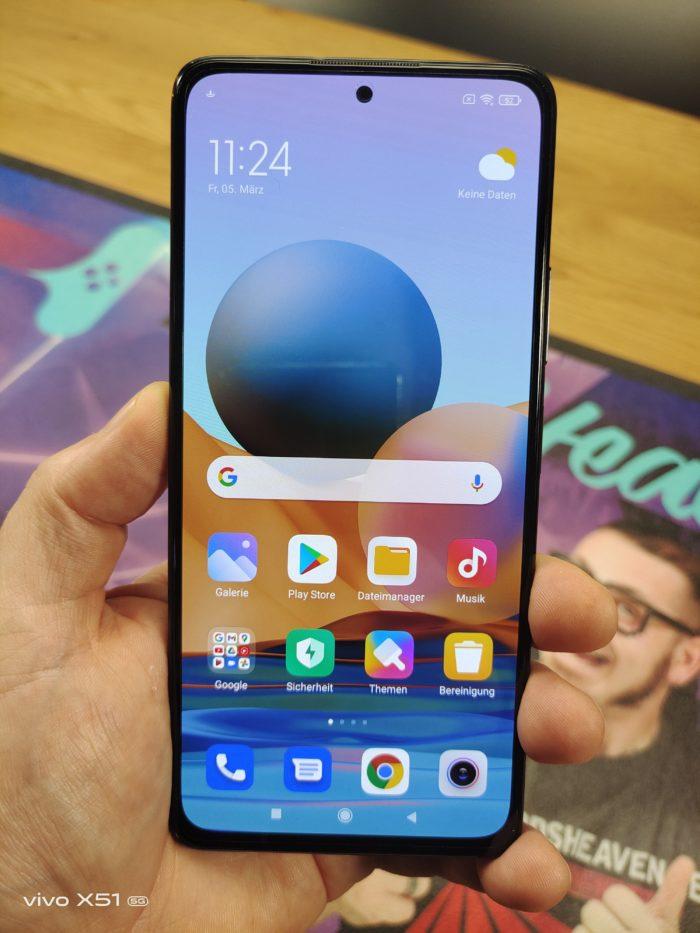 Xiaomi Redmi Note 10 Pro Vorderseite mit der Loch Notch