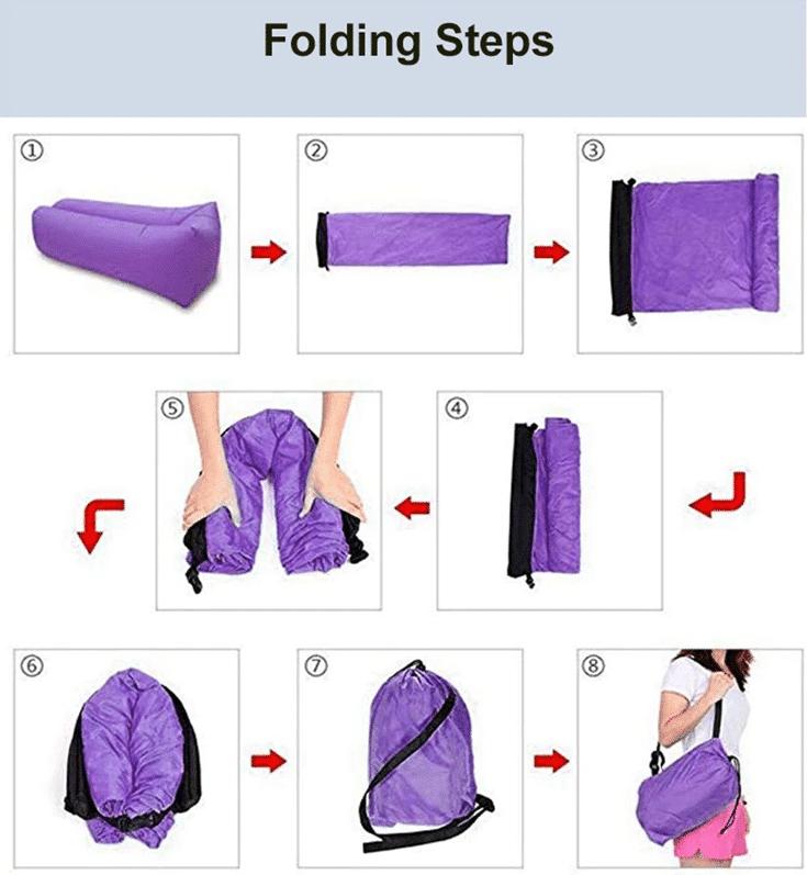 Aufblasbares Luftsofa Anleitung zum Falten