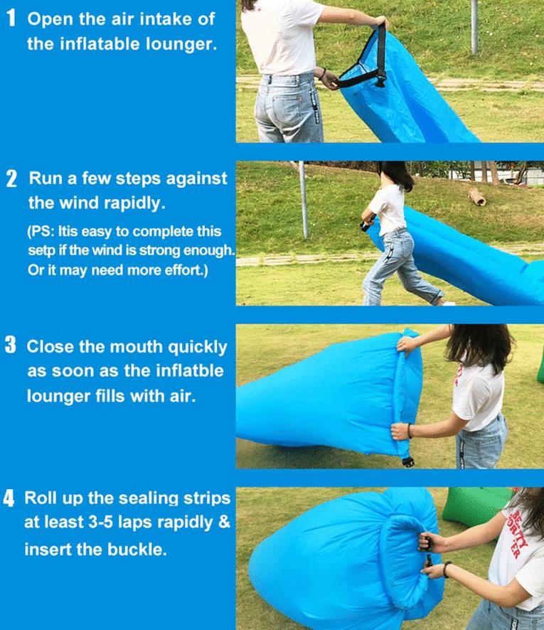 Aufblasbares Luftsofa Anleitung zum befüllen