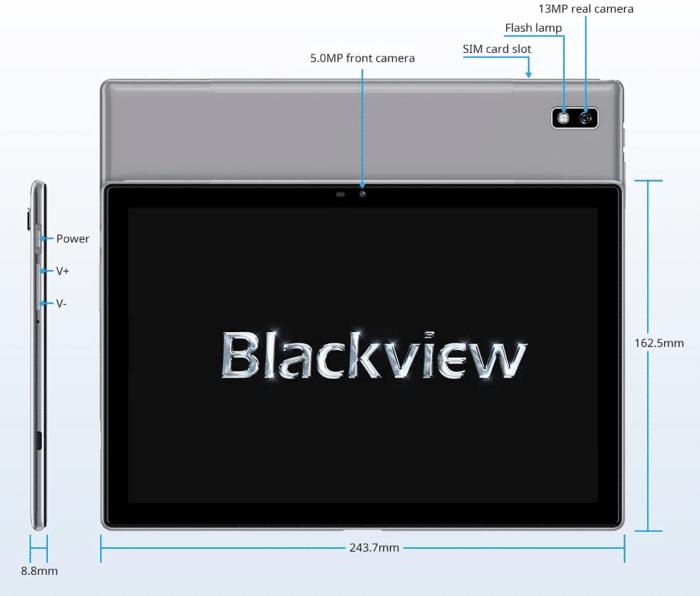 Blackview Tab 9 Bedienelemente und Ausstattung