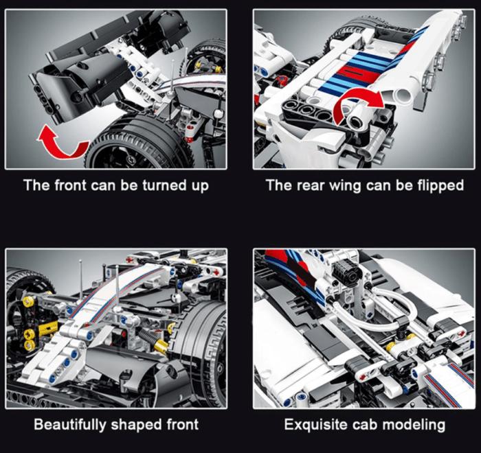 Formel 1 Wagen aus Klemmbausteinen Detailansicht Spoiler, Heck, Nase und Motor