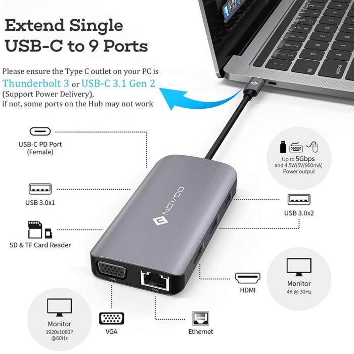 2021 06 10 10 15 27 Dock Station USB C Hub 9 in 1 NOVOO Dual Display USB  Amazon.de  Computer  Zub