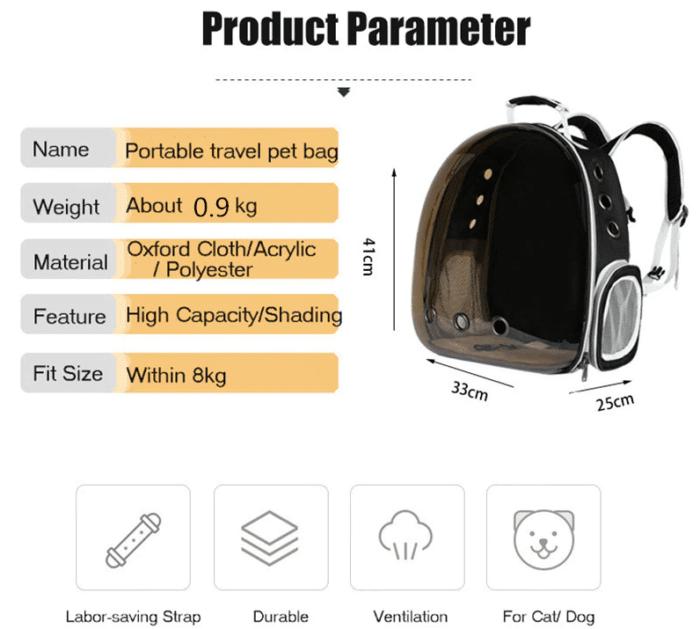 Katzenrucksack Parameter
