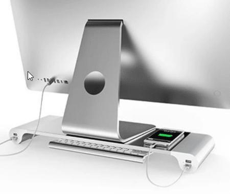 Aluminum Desktop Monitor Stand von hinten