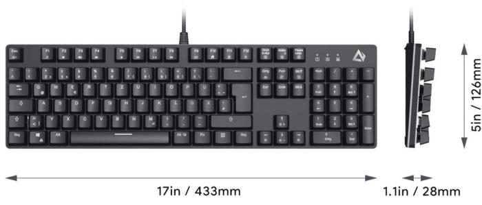 Aukey RGB Beleuchtete Tastatur Produktmaße