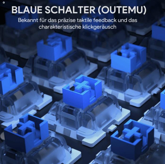 Aukey RGB Beleuchtete Tastatur Blaue Schalter sehr Clicky