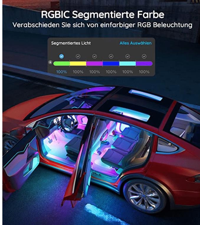 Govee RGBIC Auto LED Streifen Adressierbare Segmente