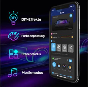 Govee RGBIC Auto LED Streifen App steuerung und Licht im Fahrzeug App Anbindung