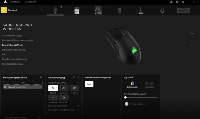 Corsair Sabre RGB Pro Wireless iCUE Software RGB Beleuchtung Einstellungen