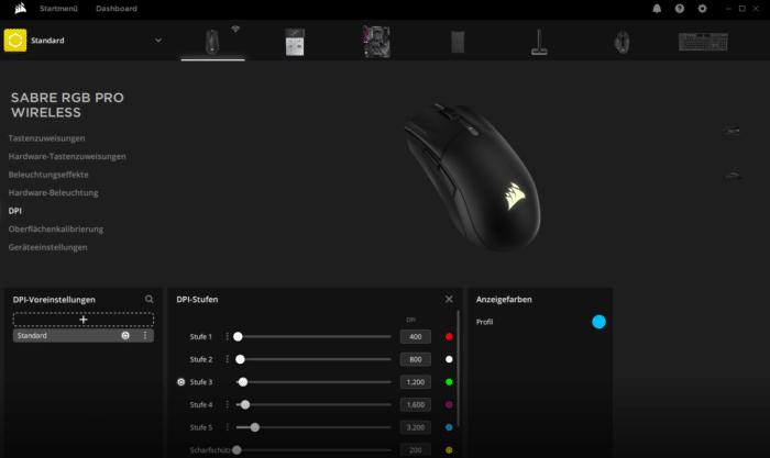 Corsair Sabre RGB Pro Wireless iCUE Software DPI Einstellung