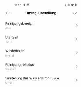 Dreame Bot D9 Max App Timing Einstellung