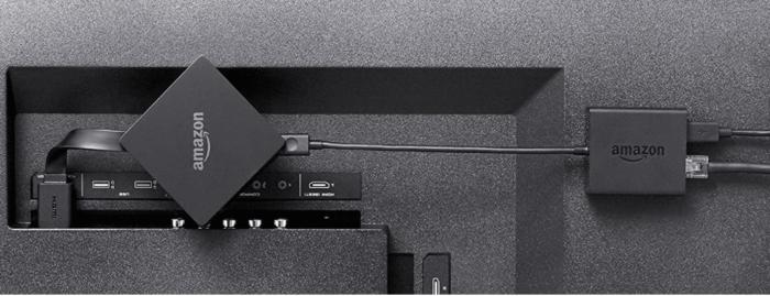 Amazon Ethernetadapter für Fire TV Rückseite TV angeschlossen